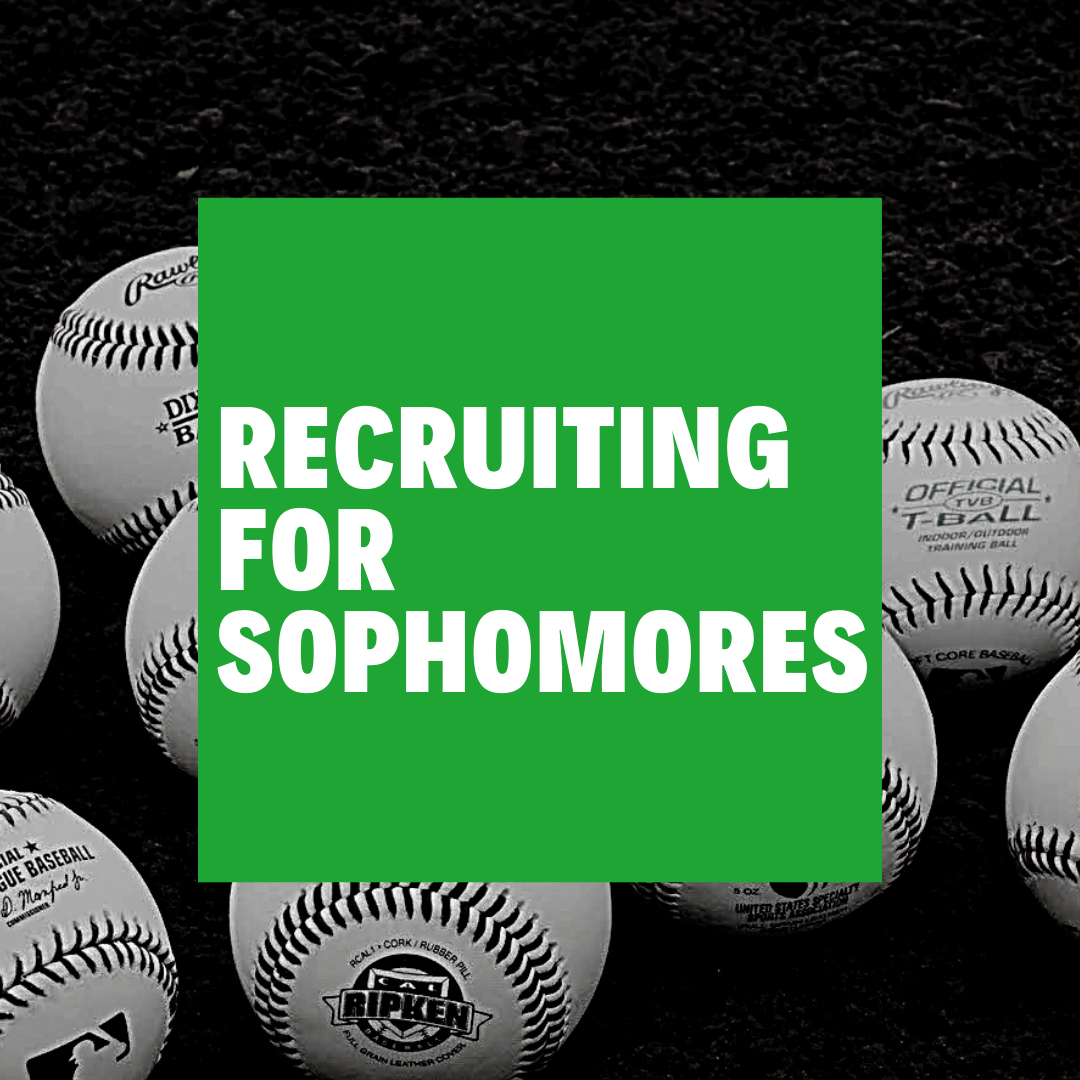 Recruiting for sophomores on a square with baseballs in the background